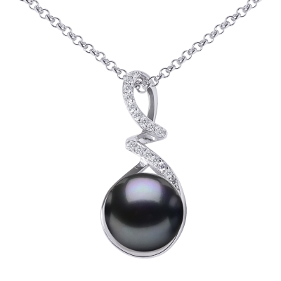 Stříbrný řetízek s přívěskem - černá řiční perla, stříbro 925/1000