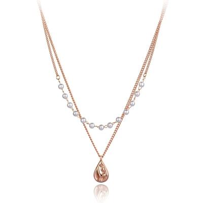 Ocelový náhrdelník Réa  - chirurgická ocel, perla