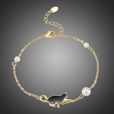 Perlový náramek Kitty - perly, kočka