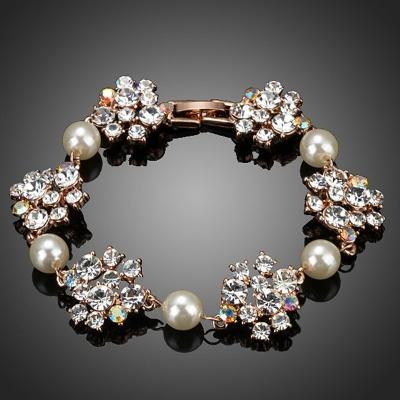 Náramek s perlou a krystaly Alison