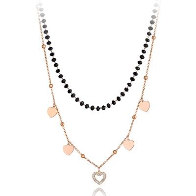 Ocelový dvojitý náhrdelník Iva - chirurgická ocel, srdíčko
