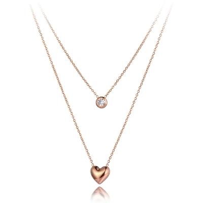 Ocelový dvojitý náhrdelník Agnes - chirurgická ocel, srdíčko, zirkon