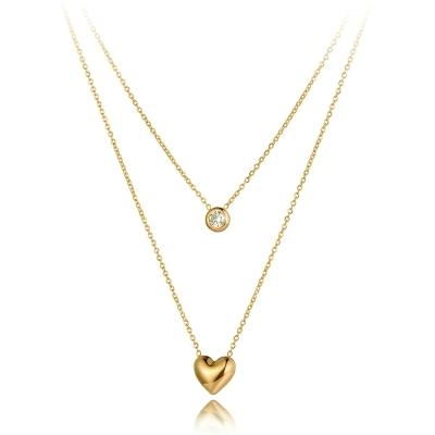 Ocelový dvojitý náhrdelník Agnes Gold - chirurgická ocel, srdíčko