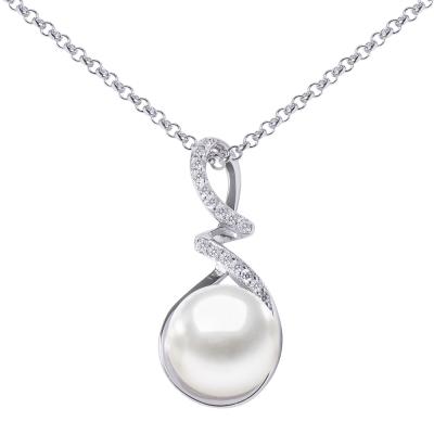 Stříbrný řetízek s přívěskem - bílá řiční perla, stříbro 925/1000
