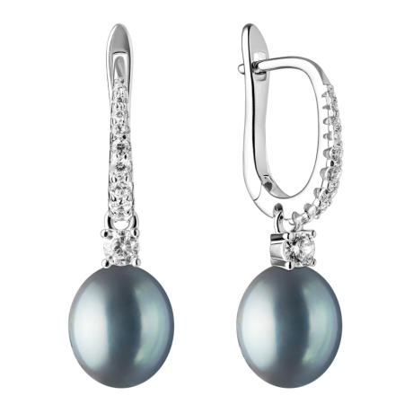 Stříbrné náušnice s černou perlou a zirkony Olia, stříbro 925/1000