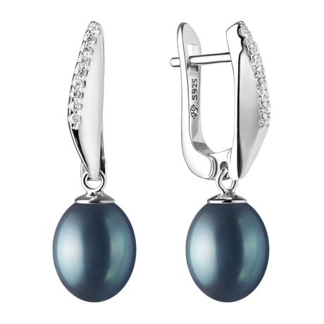 Stříbrné náušnice s černou perlou a zirkony Pamela, stříbro 925/1000