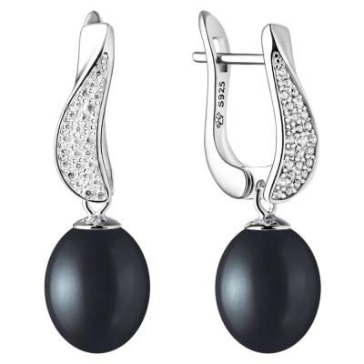 Stříbrné náušnice s černou perlou a zirkony Juana, stříbro 925/1000