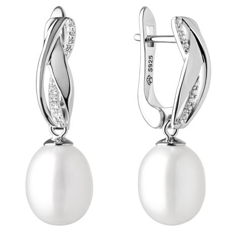Stříbrné náušnice s bílou perlou a zirkony Luzzia, stříbro 925/1000