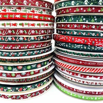 Vánoční rypsová stuha šíře 10 mm - různé motivy - 4,5 m