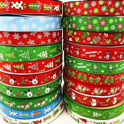 Vánoční rypsová stuha šíře 25 mm - různé motivy - 4,5 m