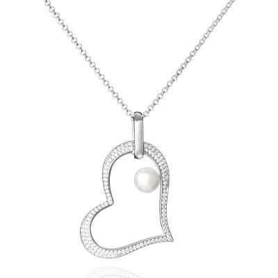 Stříbrný řetízek s přívěskem - perla, stříbro 925/1000, tvar srdce