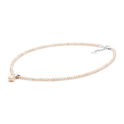 Korálkový náhrdelník Anne - perla, zirkon, stříbro 925/1000
