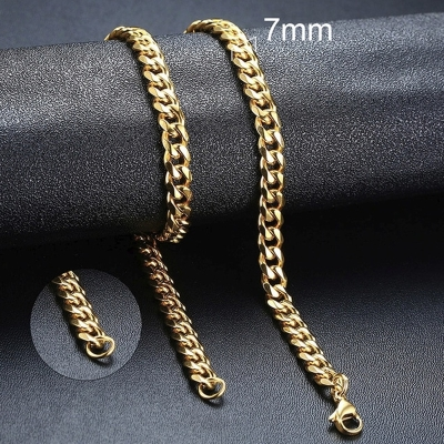 Pánský ocelový náhrdelník Erich Gold, 7 mm řetízek - chirurgická ocel