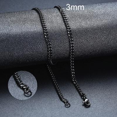 Pánský ocelový náhrdelník Erich Black, 3 mm řetízek - chirurgická ocel