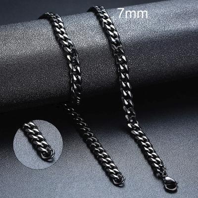 Pánský ocelový náhrdelník Erich Black,  7 mm řetízek - chirurgická ocel