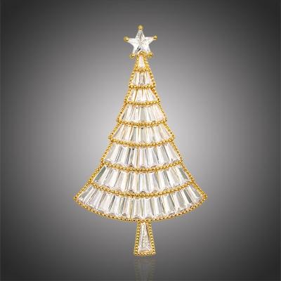 Vánoční brož Swarovski Elements Emma Gold - vánoční stromeček