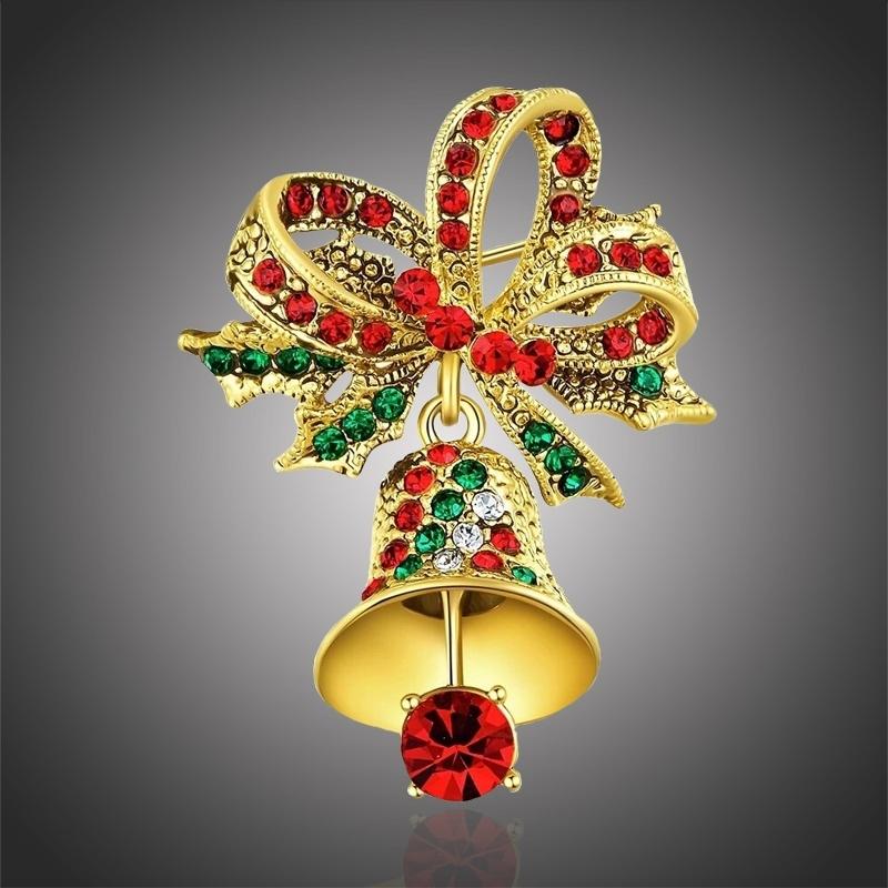 Vánoční brož Swarovski Elements Campana - vánoční zvonek