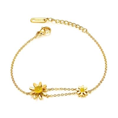 Ocelový náramek se zirkony Sunflower Gold - slunečnice