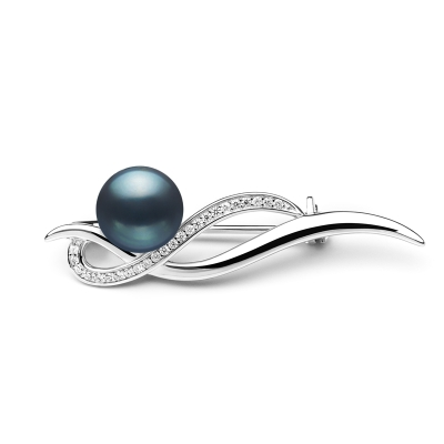 Stříbrná brož s řiční perlou a zirkony Stephanie, stříbro 925/1000