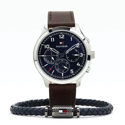 Souprava pánské kožené hodinky a náramek TOMMY HILFIGER