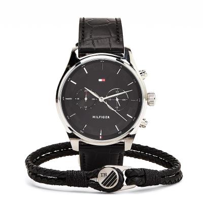 Dárkový set - pánské kožené hodinky a náramek TOMMY HILFIGER
