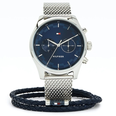 Dárkový set - pánské ocelové hodinky a kožený náramek TOMMY HILFIGER