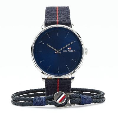 Dárkový set - pánské hodinky a kožený náramek TOMMY HILFIGER