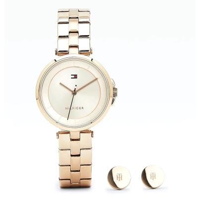 Dárkový set - dámské hodinky a ocelové náušnice TOMMY HILFIGER