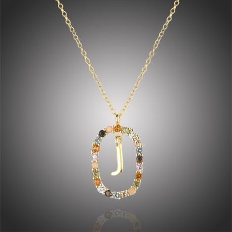 """Luxusní pozlacený náhrdelník písmeno """"J"""" LETTERS (řetízek, přívěsek)"""