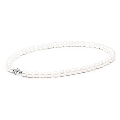 Luxusní perlový náhrdelník Shannon 50 cm - sladkovodní perla, stříbro 925/1000