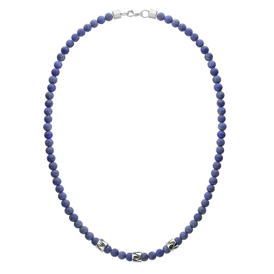 Pánský korálkový náhrdelník Daniel - 6 mm lapis lazuli, etno styl
