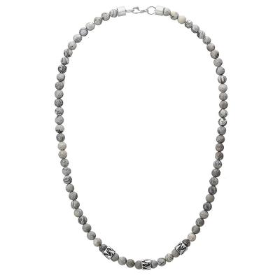 Pánský korálkový náhrdelník Henri - 6 mm Jaspis, etno styl