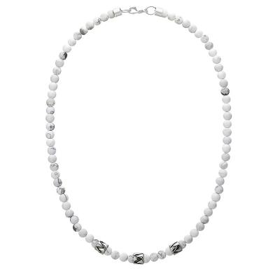 Pánský korálkový náhrdelník Alain - 6 mm Howlit, etno styl