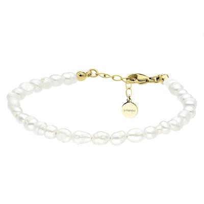 Perlový náramek Emilie Gold -  řiční perla, chirurgická ocel