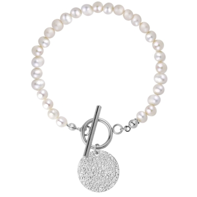 Perlový náramek Raquel - chirurgická ocel, sladkovodní perla