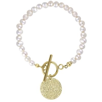 Perlový náramek Raquel Gold - chirurgická ocel, sladkovodní perla