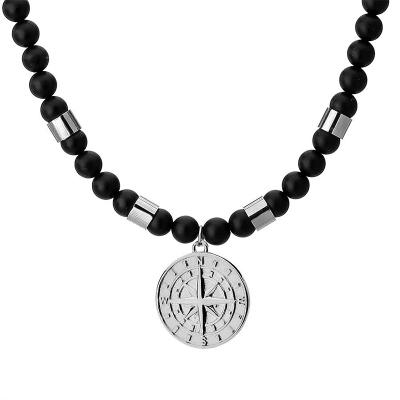 Pánský korálkový náhrdelník Diego - přírodní onyx, větrná růžice