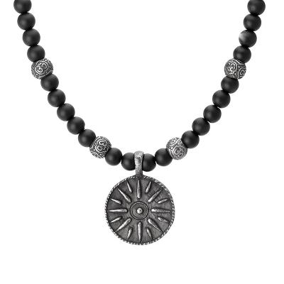 Pánský korálkový náhrdelník Nicolas - přírodní onyx, starožitná mince