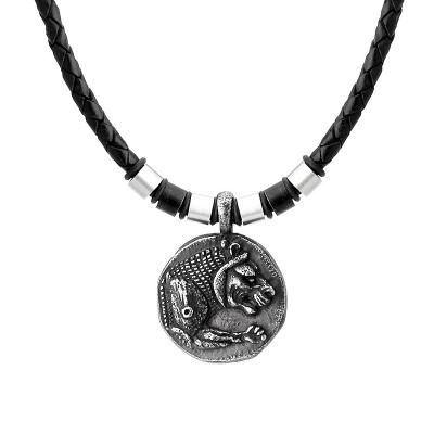Pánský kožený náhrdelník Thomas - starožitná mince se lvem