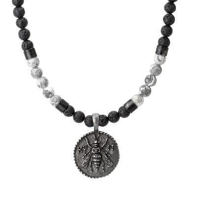 Pánský náhrdelník Dión - lávový kámen, jaspis, starožitná mince