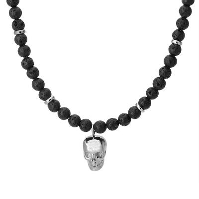 Pánský korálkový  Jacque  - lávový kámen, ocelová lebka