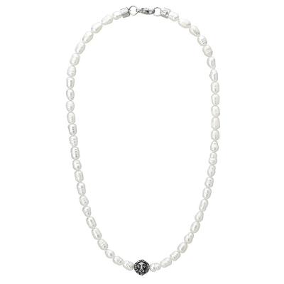 Pánský perlový náhrdelník Jaime - přírodní perla, ocelový lev