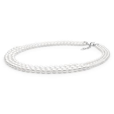 Trojřadý perlový náhrdelník Caitlin - pravá perla, stříbro 925/1000