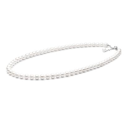 Perlový náhrdelník Bethany  9-10 mm řiční bílá perla, stříbro 925/1000