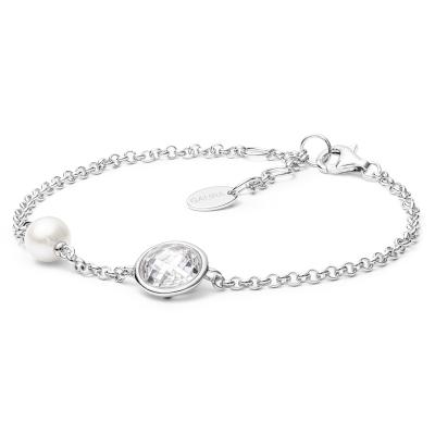 Stříbrný náramek s řiční perlou a zirkonem Ella - stříbro 925/1000
