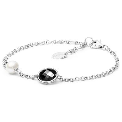 Stříbrný náramek s perlou a zirkonem Ella Black - stříbro 925/1000
