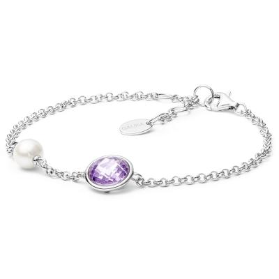 Stříbrný náramek s perlou a zirkonem Ella Amethyst - stříbro 925/1000