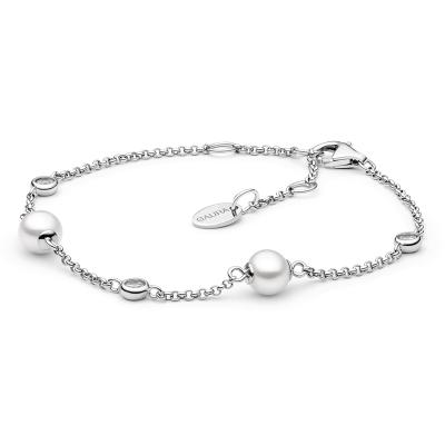 Stříbrný náramek s perlou a zirkonem Leah - stříbro 925/1000