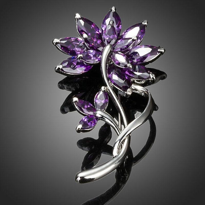 Brož Swarovski Elements Amelie - květina