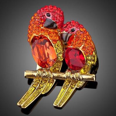 Brož Swarovski Elements Adreana - papoušek